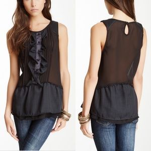 Free People paint the town faux leather trim tank